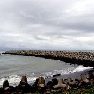 triangle rock at glagah beach yogyakarta indonesia