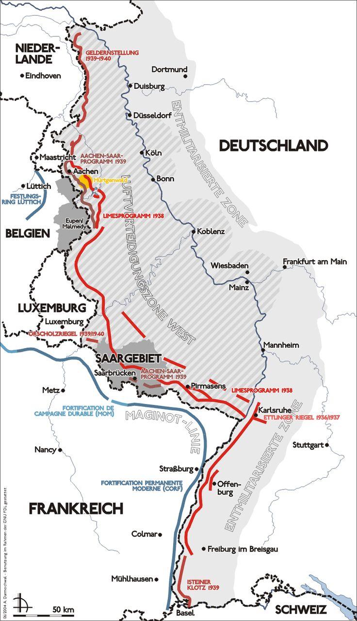 Ubicación de la Línea Sigfrido a lo largo de la frontera germana con Francia, Bélgica, Luxemburgo y los Países Bajos.