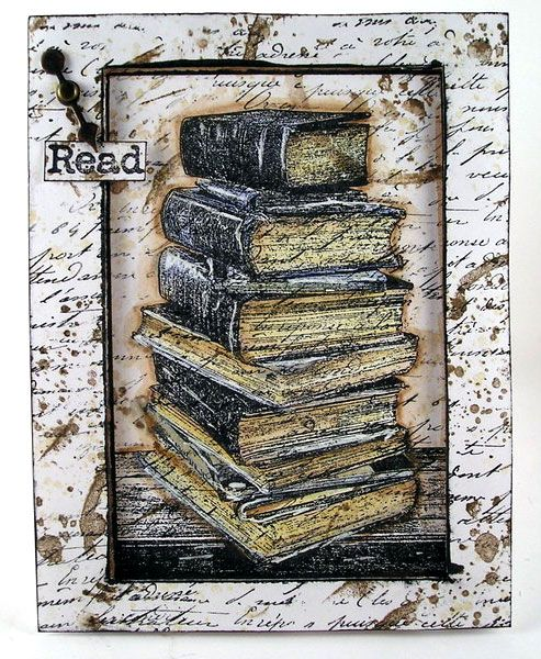 Card by Suzz Czosek using Darkroom Door Book Stack Photo Stamp and French Script Texture Stamp