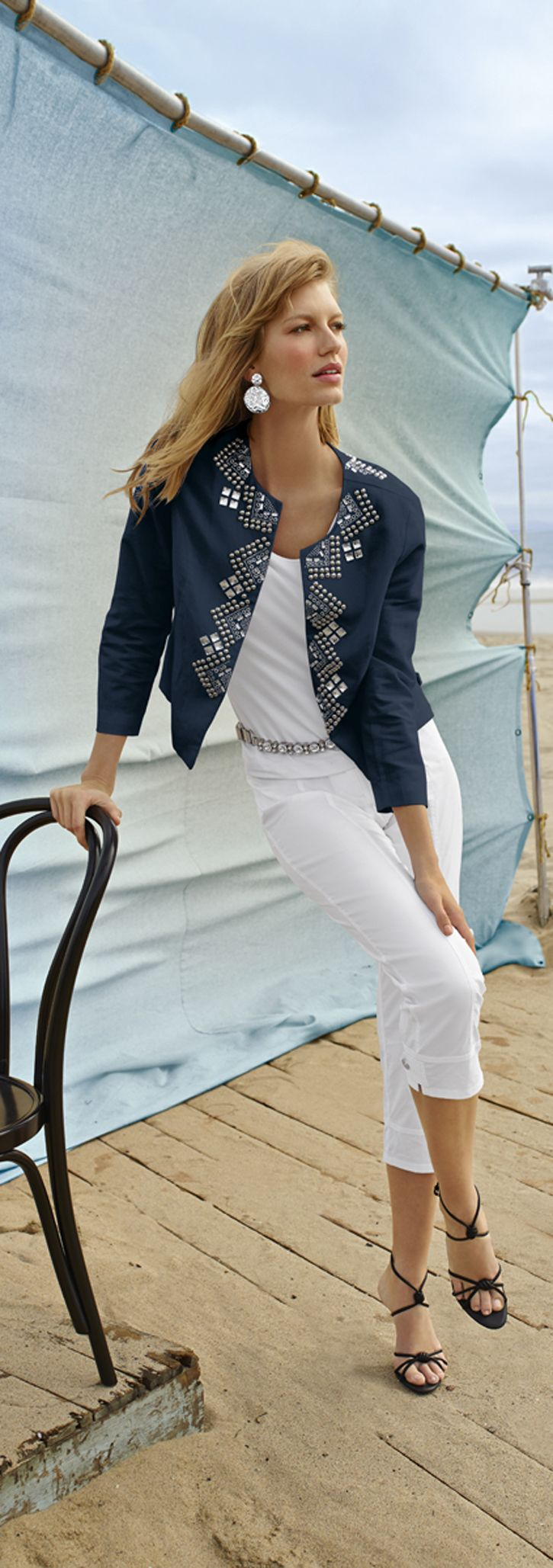Chico's Embellished Neckline Jacket. Bling it on. Don't be shy – layer on the embellishment, belts and baubles.