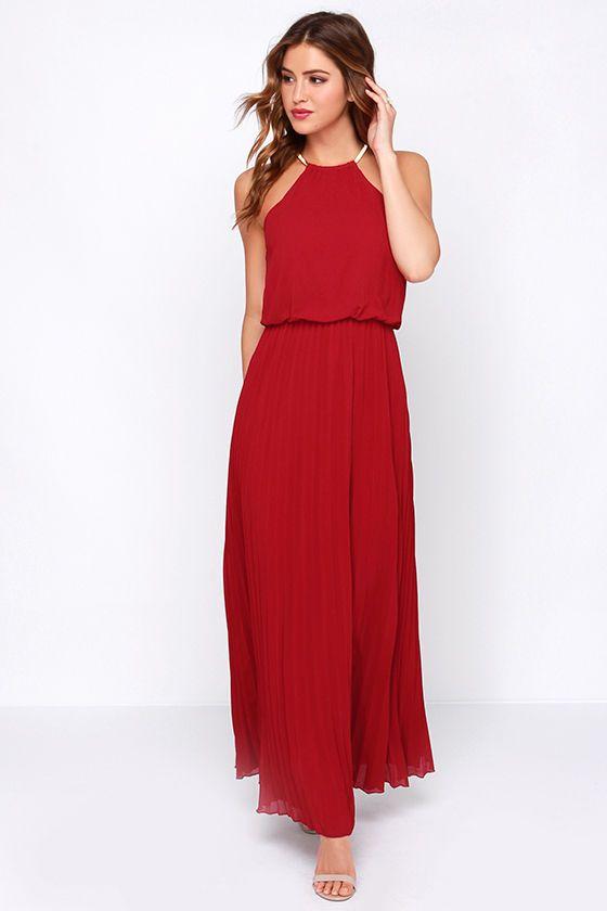 wine red maxi dress #valentinesday