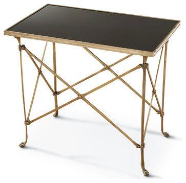 Directors Cut Hollywood Regency Gold Black Marble Rectangular End Table  Transitional Side Tables