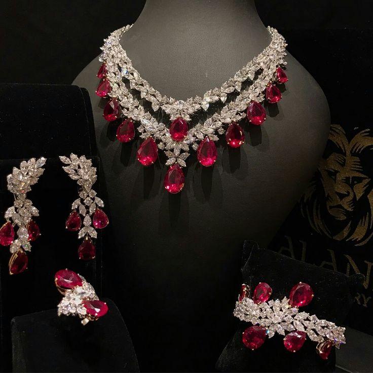 #alandJewellery. Exquisite Rubies and Diamonds Jewellery Set