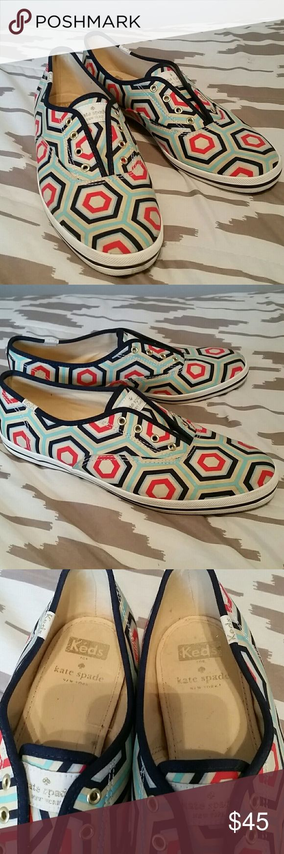 Kate Spade by Keds Very fun Kate Spade sneakers by Keds in great condition. Minimal wear, some slight stains, nothing too visible. Multiple colors, no laces required. Very clean inside,  no odors. These shoes go with everything! kate spade Shoes Sneakers