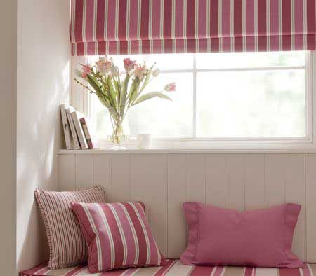 Clarke & Clarke New England Raspberry Collection - Need more of a beach feeling in your home? Check out this collection with it's stunning stripes!