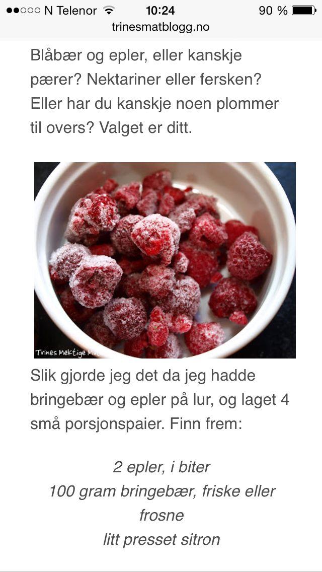 Enkel smuldrepai m.epler & bringebær, trines matblogg 1