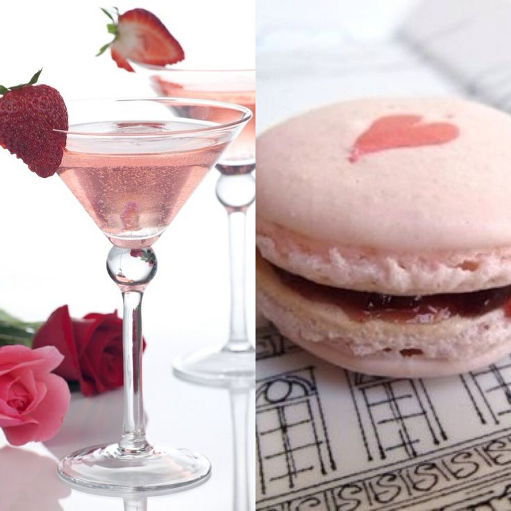 #MatchingMonday: We're falling head over gorgeous heel for this Strawberry macarons & martini pair! #SpringFling #Love #Macaroon
