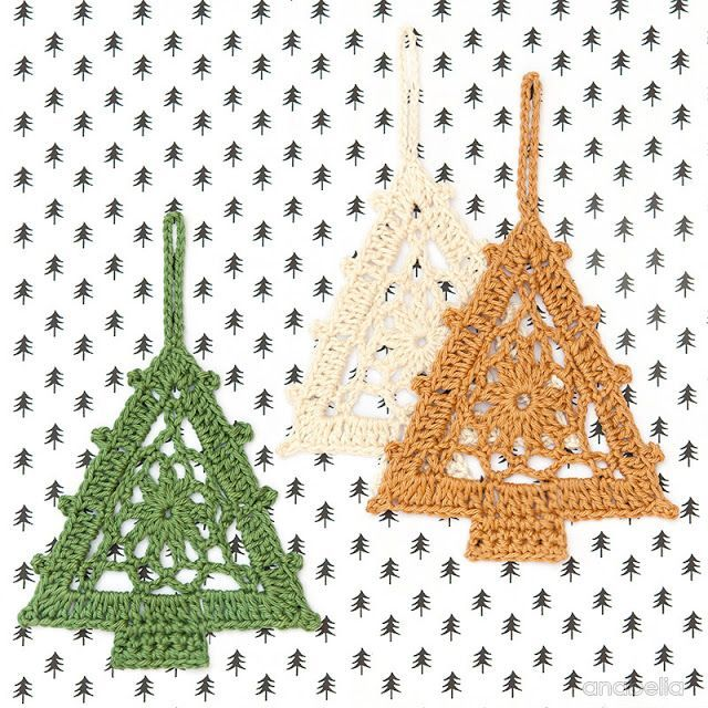 Crochet Christmas Tree free pattern, Anabelia Craft Design - and snowflakes too.