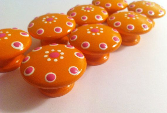 Bright Orange Drawer Knobs for your Little Nursery on Etsy, $5.00