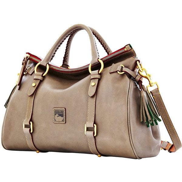 Dooney Bourke Florentine Medium Satchel (2.525 VEF) ❤ liked on Polyvore featuring bags, handbags, purses, brown leather satchel, satchel handbags, genuine leather purse, brown satchel handbag and genuine leather handbags
