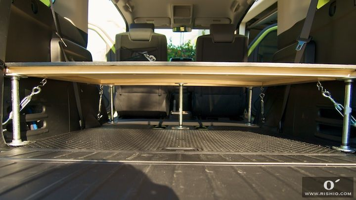 "I built the platform with basic Home Depot material including 5 steel legs about 10"" tall, 47x45"" plywood board with lumbar wood to add extra support, and 4 turnbuckles to lock the platform to the floor.  about $100 in material:  Rishio Media: 06/2008"