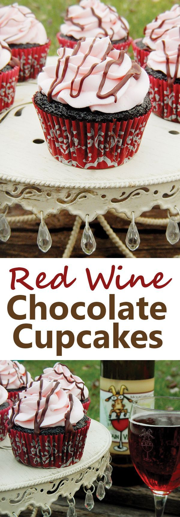 Chocolate wine cupcakes recipe. Moist chocolate cupcakes infused with sweet red wine. They're filled with red wine ganache and topped with a whipped cream-cream cheese wine frosting. A perfect Mother's Day Dessert or Valentine's Dessert.