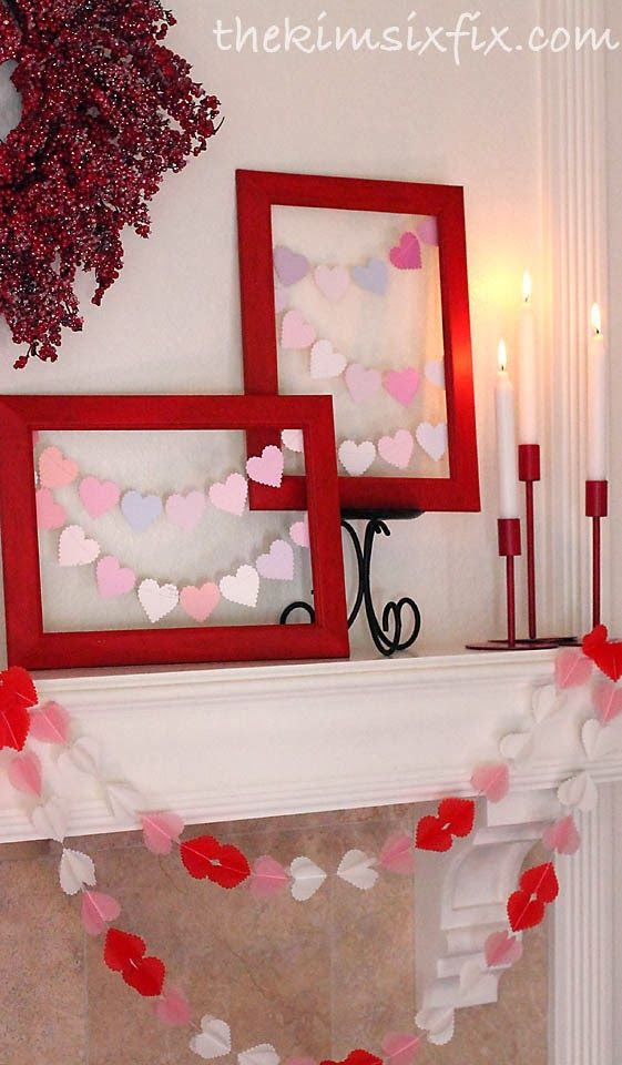 Valentine's Day Mantle..if the house is decorated some what the week of vday it would be the cutest ever !  Id enjoy decorating with youb..I like geting into the holiday spirit!