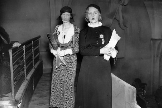 Unity Valkyrie Mitford working as programme seller at a gala matinee performance that was also attended by King George V and Queen Mary, 1933