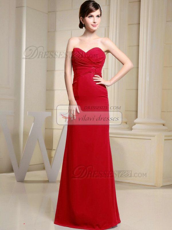 100% Maßgeschneiderte Column Chiffon Liebsten bodenlangen Rüschen Red Brautjungfer Kleider, freies Verschiffen Preis: US $ 151,99 - VILAVI Kleider