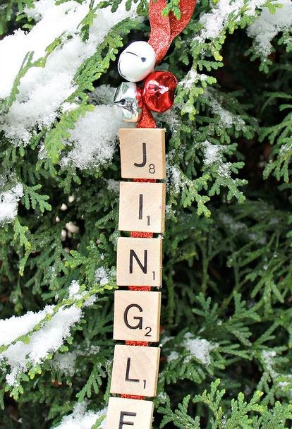 jingle bells scrabble ornament, christmas decorations, crafts, seasonal holiday decor