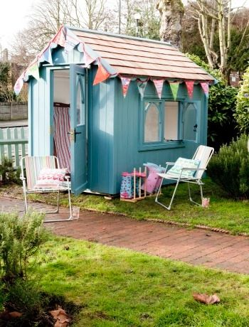 Add a pretty addition to your garden Men and their sheds are a bit of a myth! Everyone loves a shed and if you're going to create an extra room - it might as well be a pretty addition to your garden! Consider a bright painted one - you could even decorate with bunting. This Gothic Shed is from The Posh Shed Company.