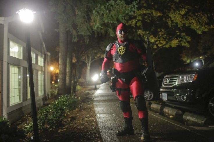 Masked superhero Guardian Shield patrols Beaverton