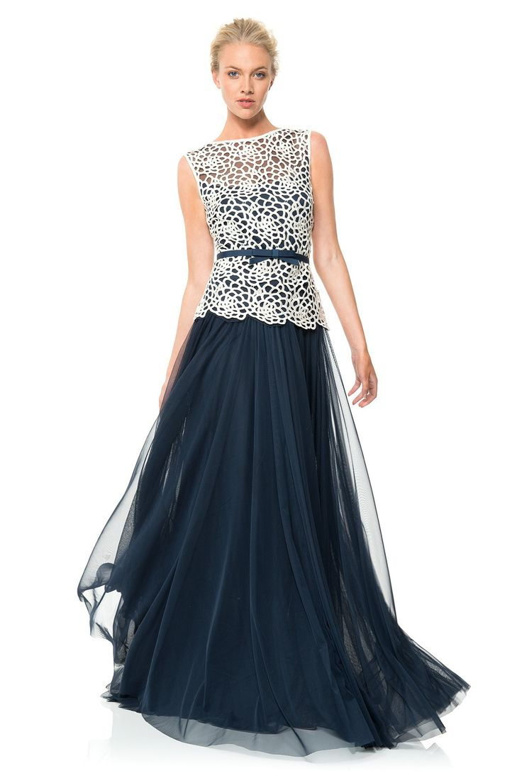 Guipure Lace and Tulle Gown | Tadashi Shoji