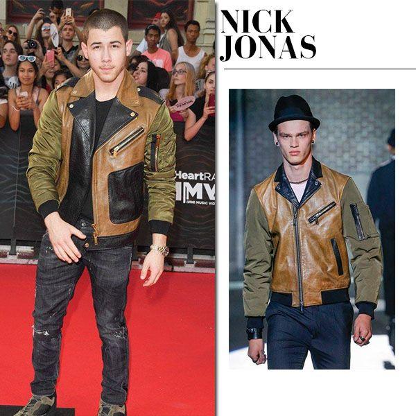 Nick Jonas in khaki brown leather biker jacket