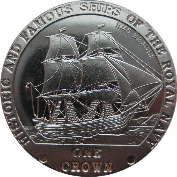 Тристан-да-Кунья. Знаменитые корабли Королевского флота «BEAGLE» 1 крона 2008 г.