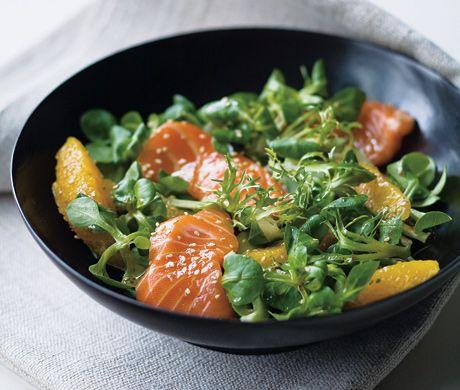 Sashimi Salad with Soy and Orange Recipe   Epicurious.com