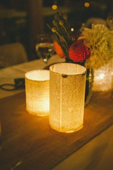 By Candlelight: Get in touch with your crafty side by decoupaging book pages onto candles.   Photo by Rachael Grace Photography via Ruffled
