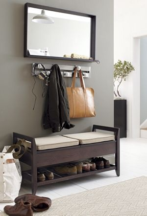 Entryway decor - one of my many winter projects  Addison Storage Bench with Cushions and Mirror