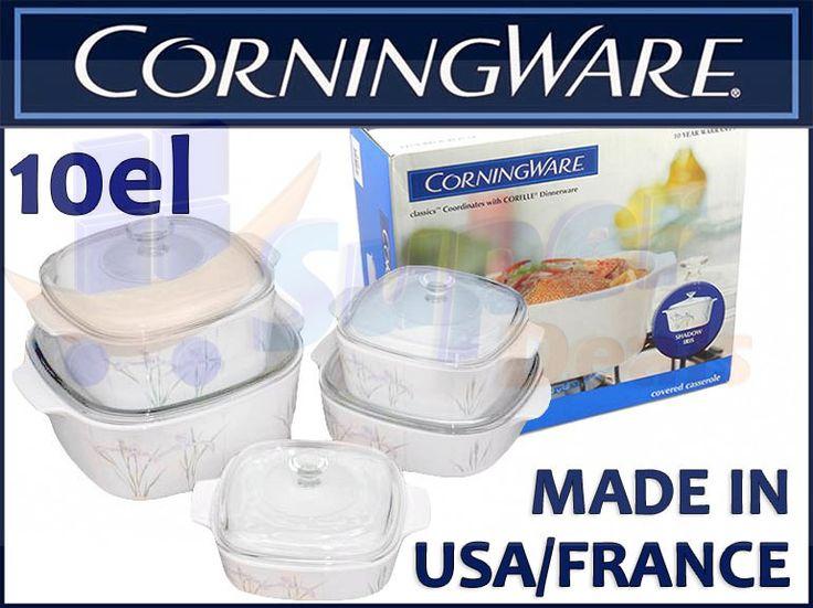 Corning Ware Zeztaw Garnki /Naczynia żaroodporne 10 el., 1,0-5,0 l.