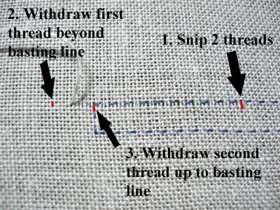 Drawn Thread Embroidery on Whitework Sampler...reweaving edge tutorial