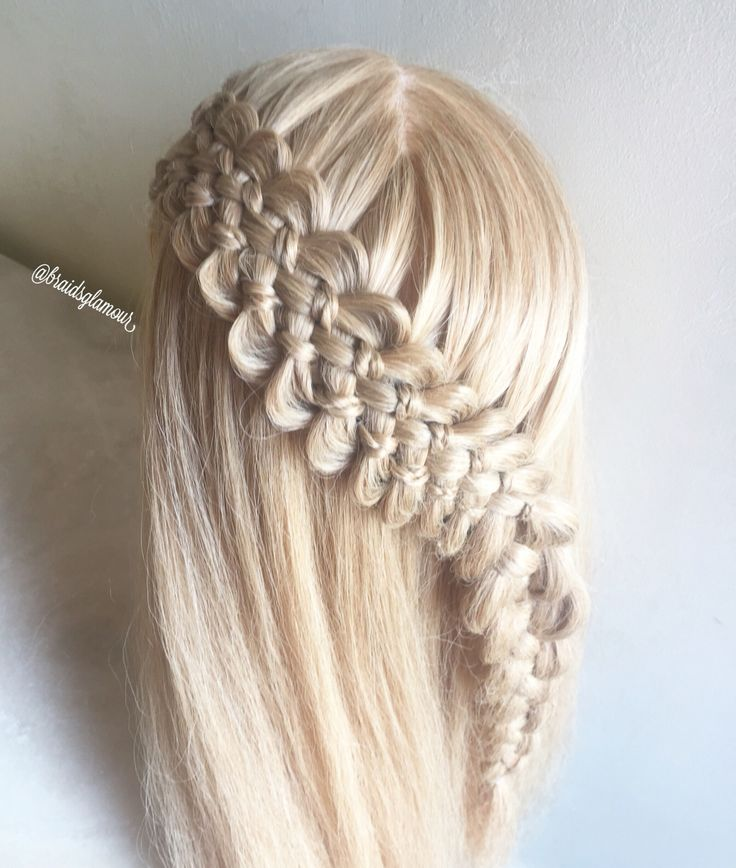 Seven strand lace braid with micro braids into a four strand braid