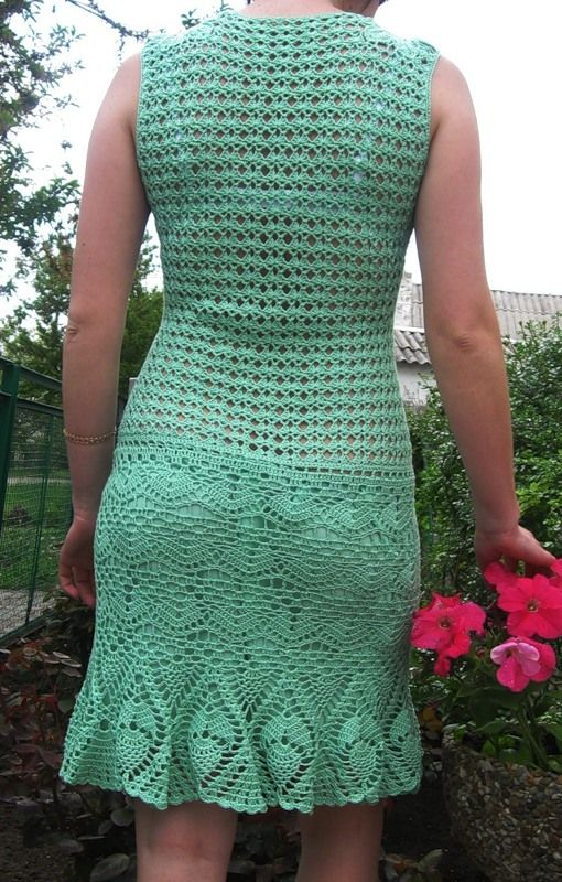 crochelinhasagulhas: Vestido verde de crochê