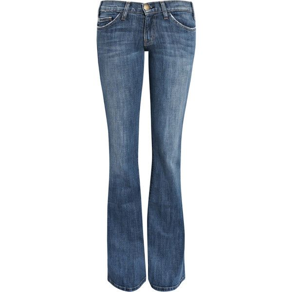 Current/Elliott The Lowbell low-rise flared jeans ($150) ❤ liked on Polyvore featuring jeans, pants, bottoms, denim, 5 pocket jeans, button-fly jeans, faded jeans, low rise flare jeans and low rise flared jeans
