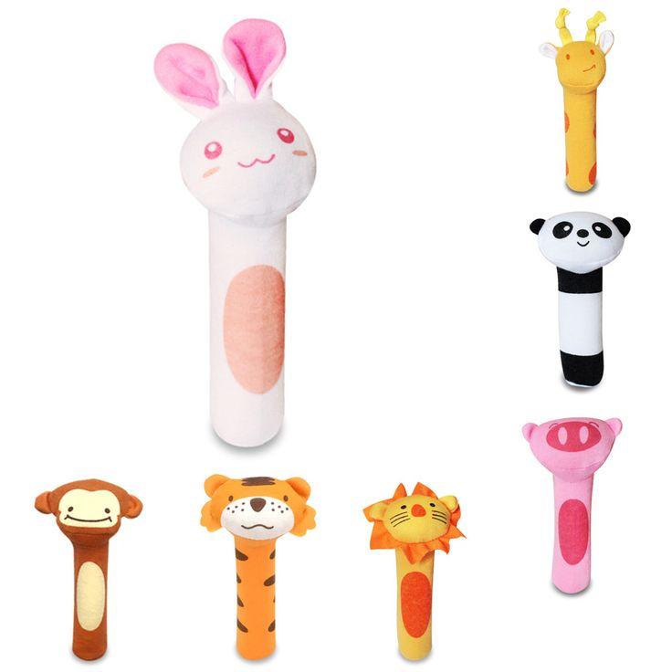 1ピースぬいぐるみハンドベル赤ちゃんのガラガラ漫画のおもちゃ動物大接戦バー赤ちゃんのおもちゃハンドパペット啓蒙ぬいぐるみ人形