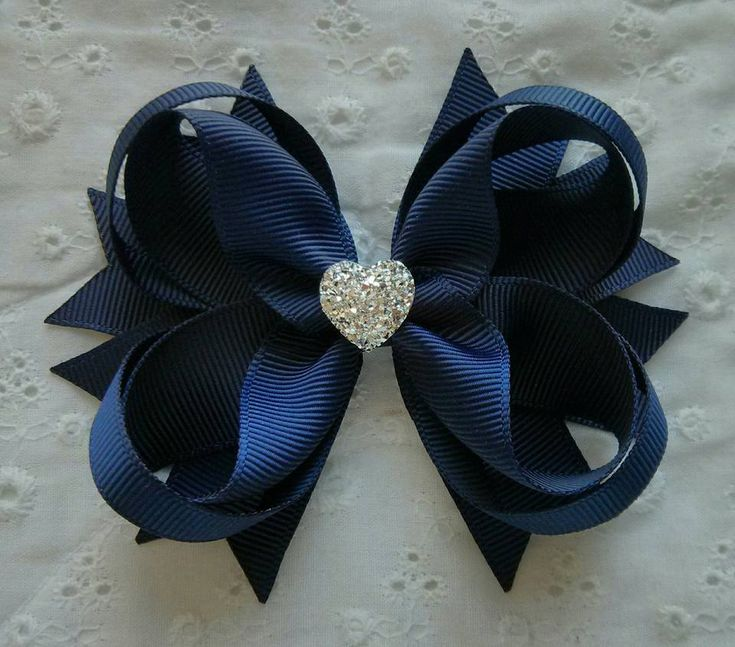 Navy Hair Bow with Sparkly Heart~ Navy Stacked Boutique Hair Bow~ Gift for Her…