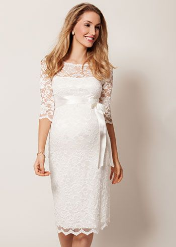 Amelia Lace Maternity Dress Short (Ivory)