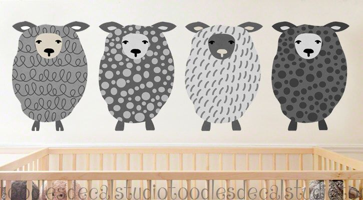 Sheep Art Fabric Wall Decal - Reusable Wall Decals - 4 Decals - Ready to Hang Boys Art - Sheep Nursery Art - Boys Sheep Fabric Stickers by ToodlesDecalStudio on Etsy https://www.etsy.com/listing/269692245/sheep-art-fabric-wall-decal-reusable