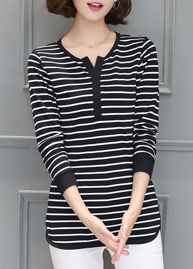 Stripe Print Long Sleeve Black Curved T Shirt on sale only US$27.32 now, buy cheap Stripe Print Long Sleeve Black Curved T Shirt at lulugal.com