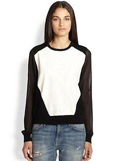 Rebecca Minkoff - Leon Leather-Paneled Sheer-Sleeved Sweater