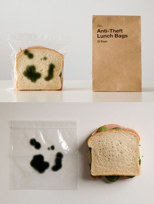 Anti theft sandwich bag    You know, just in case your bad knock-knock jokes don't work and someone eats your turkey sandwich with a moist-maker #friends