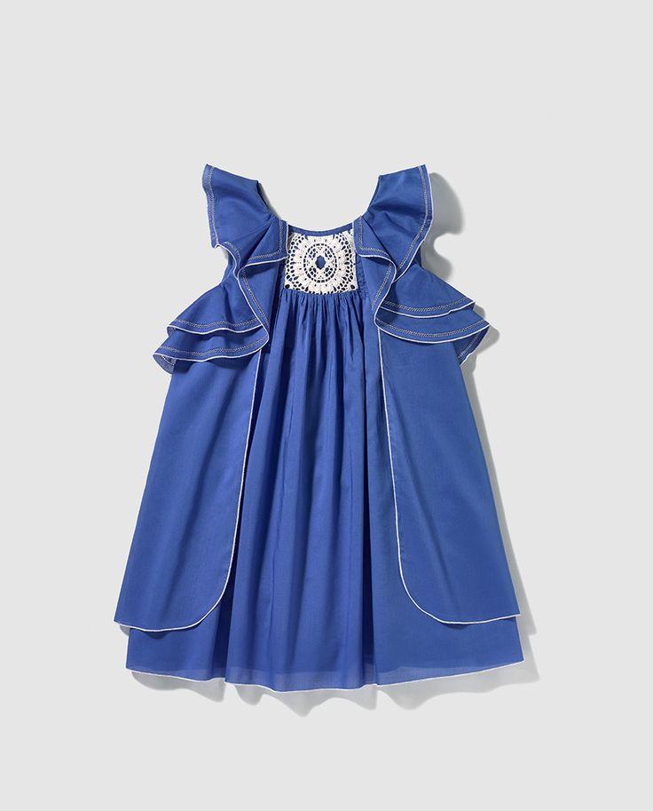 Vestido de niña Tizzas en azul con volante