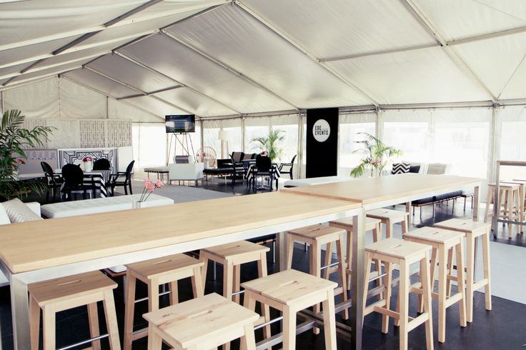 Marquee styled with timber bar stools and high bar http://www.edeevents.com.au/party-hire/chairs/bar-stools