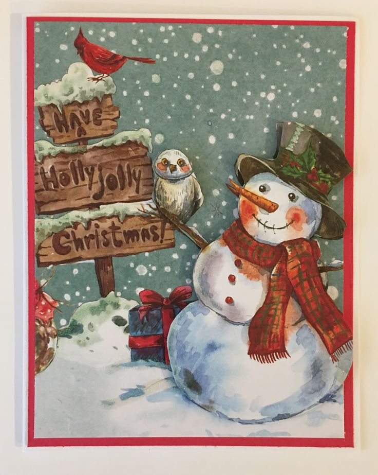 "CBY Handmade - Christmas greeting card with 3D snowman and sign. Sentiment says, ""Have a Holly Jolly Christmas."""