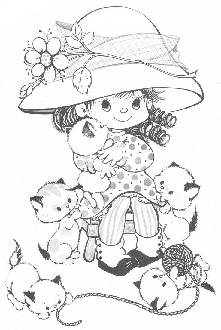 Coloring book kittens - Coloring Book Charmer Coloring Book Bonnie Jones Lbuns Da Web Do Picasa Girl And Kittens