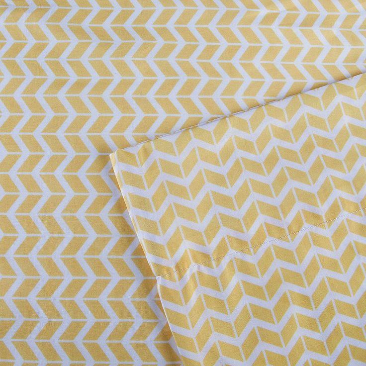 Intelligent Design Chevron Sheets, Yellow Twin Xl