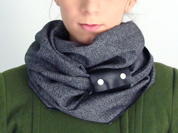Wool infinity scarf with faux leather cuff in black & silver grey herringbone - FOR SALE 32.00€ - Click here: clothbot.gr - clohbotshop.etsy.com - Fall Winter 2015 - scarves, accessories, trends, christmas gifts, holidays presents, unisex