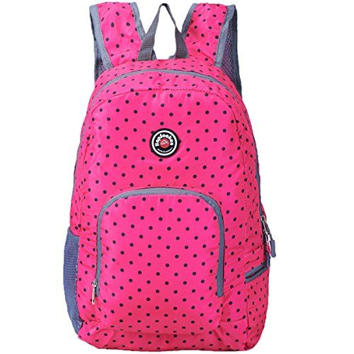 Hopsooken Travel Backpack for Schools - 25L Waterproof Dot Ultra Lightweight Daypack Bag for Women and Men, School Backpack for Girls, Boys, College Student (Pink)