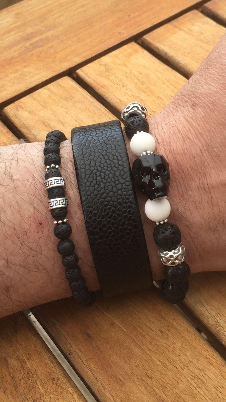 Handmade Men Women Bracelet Lava Rock Sterling 925 Silver Skull DIY-KAREN 350