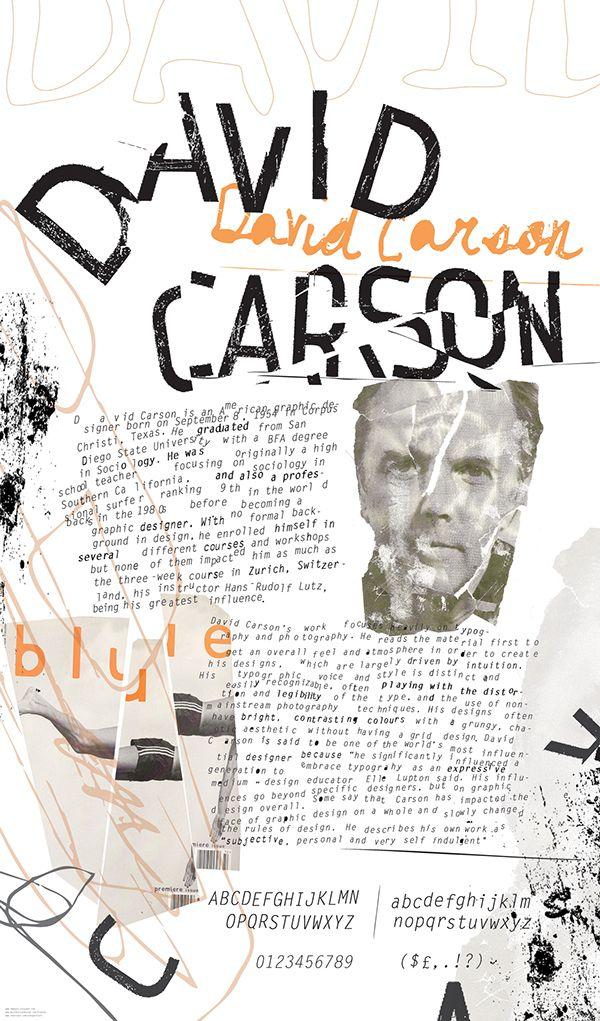 "16"" x 26"" biography poster of graphic designer David Carson"
