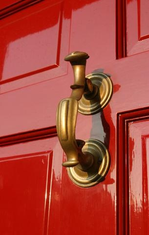 Red Lacquered Front Door and Brass Door Knocker I love this color